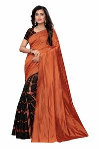 Anni Designer Black Cotton Blend Saree With Blouse
