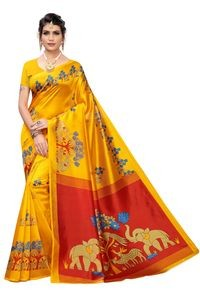 Anni Designer Yellow Khadi Saree With Blouse
