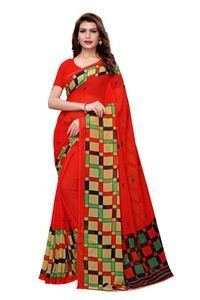 Anni Designer Red Faux Georgette Saree With Blouse