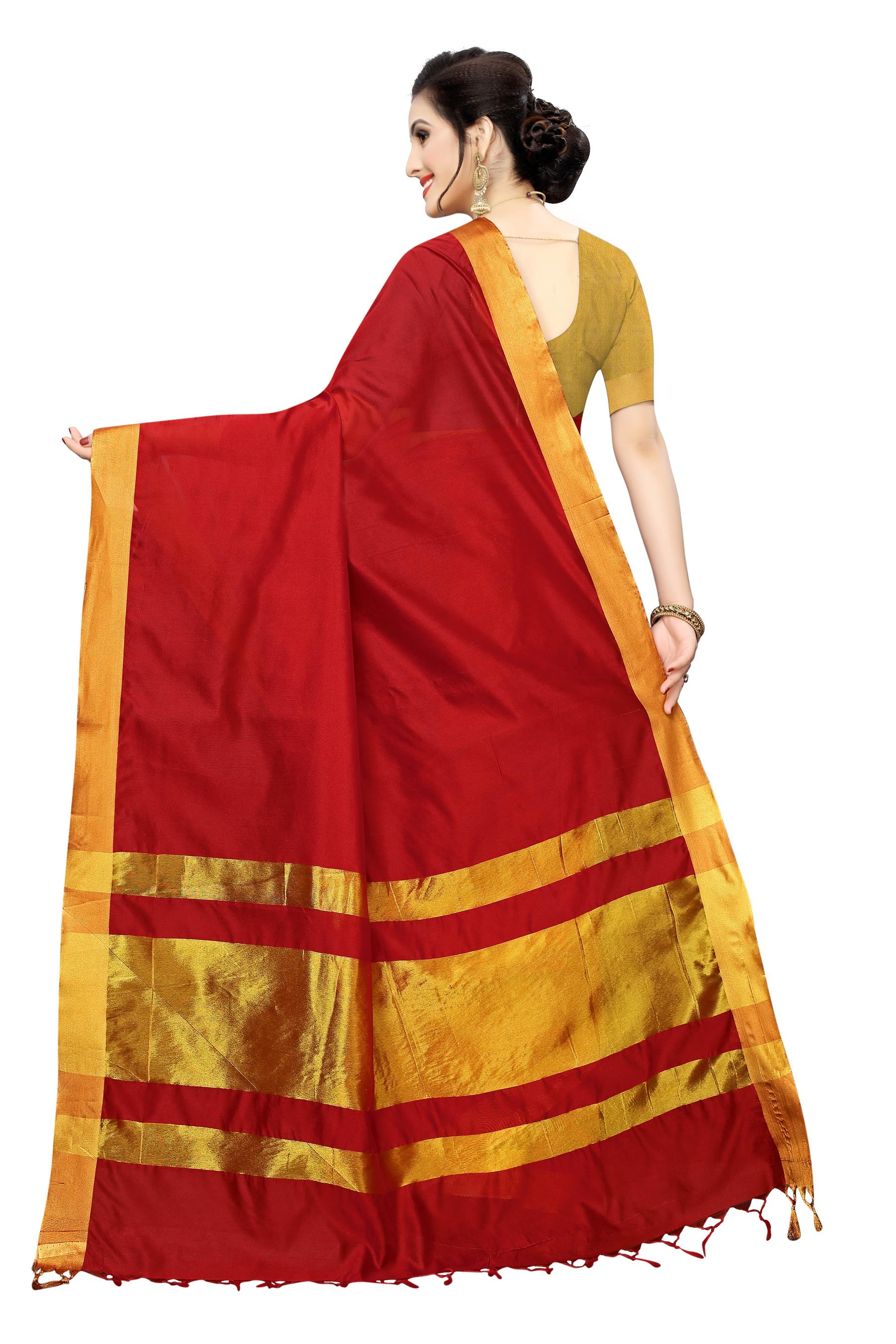 Anni Designer Red Silk Blend Saree With Blouse