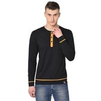 Glito Black Henley Neck Cotton Men T-Shirts & Polos