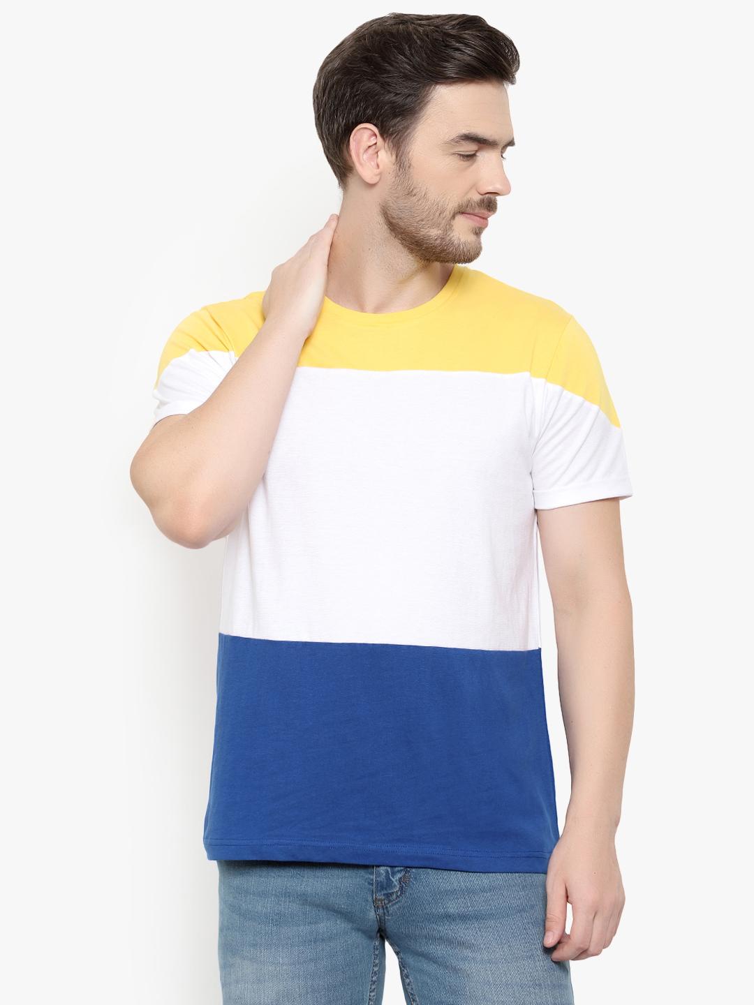 Glito Colorblocked Half Sleeves T-Shirt For Men