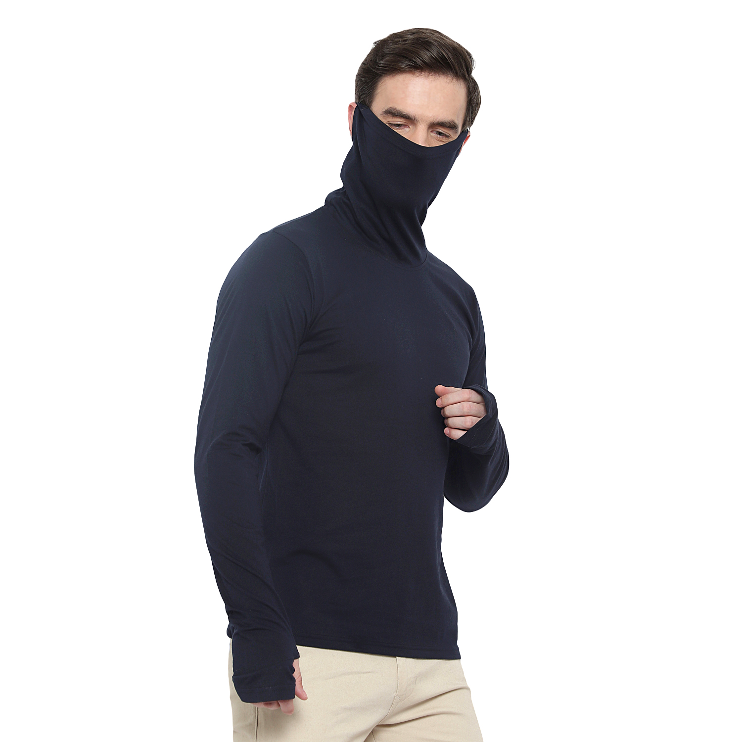 Glito Solid Navy Cowl Neck T-Shirt For Men