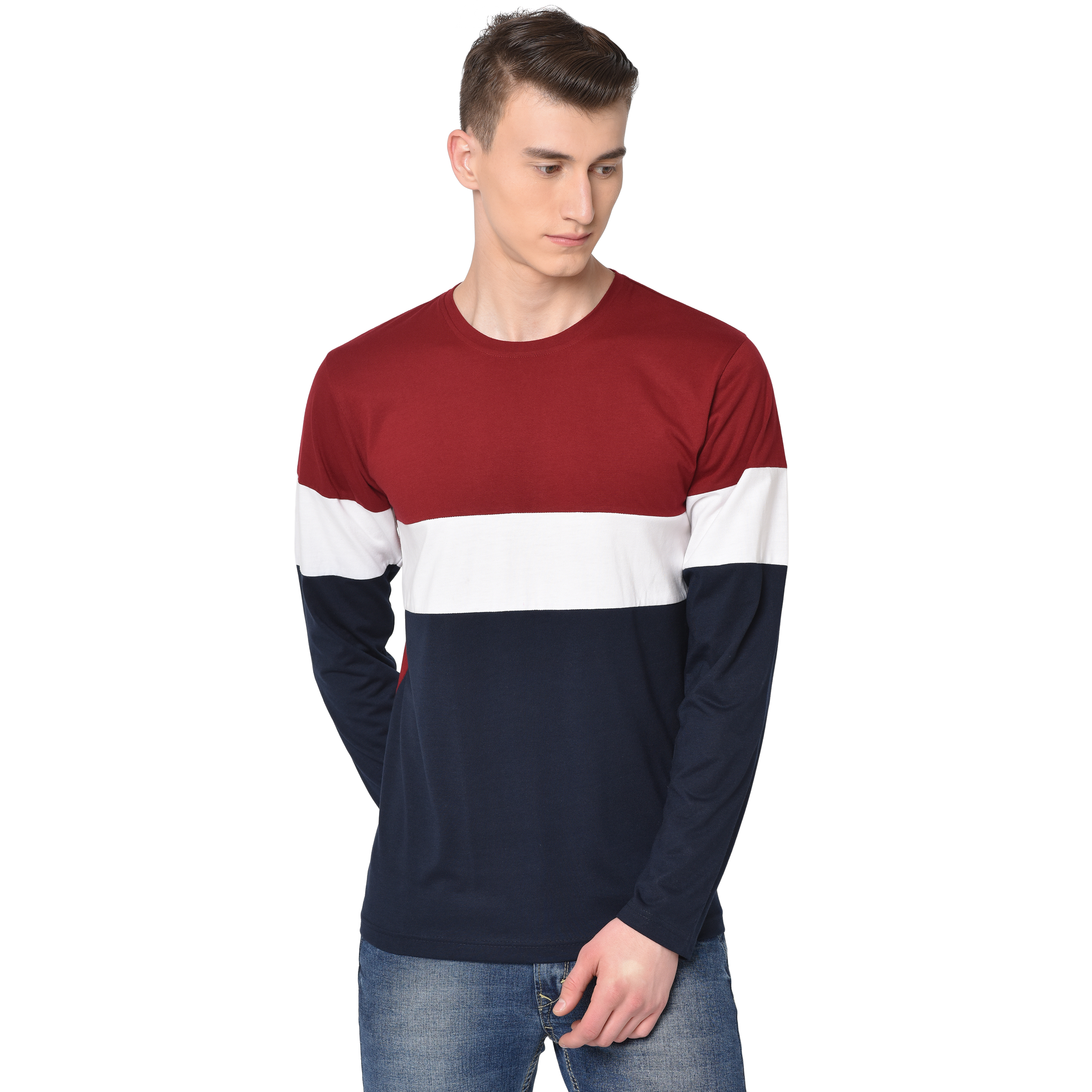 GLito Men's Full Sleeves Round Neck Regular Fit  Cotton 2 Units Combo T-Shirts With Multi Color