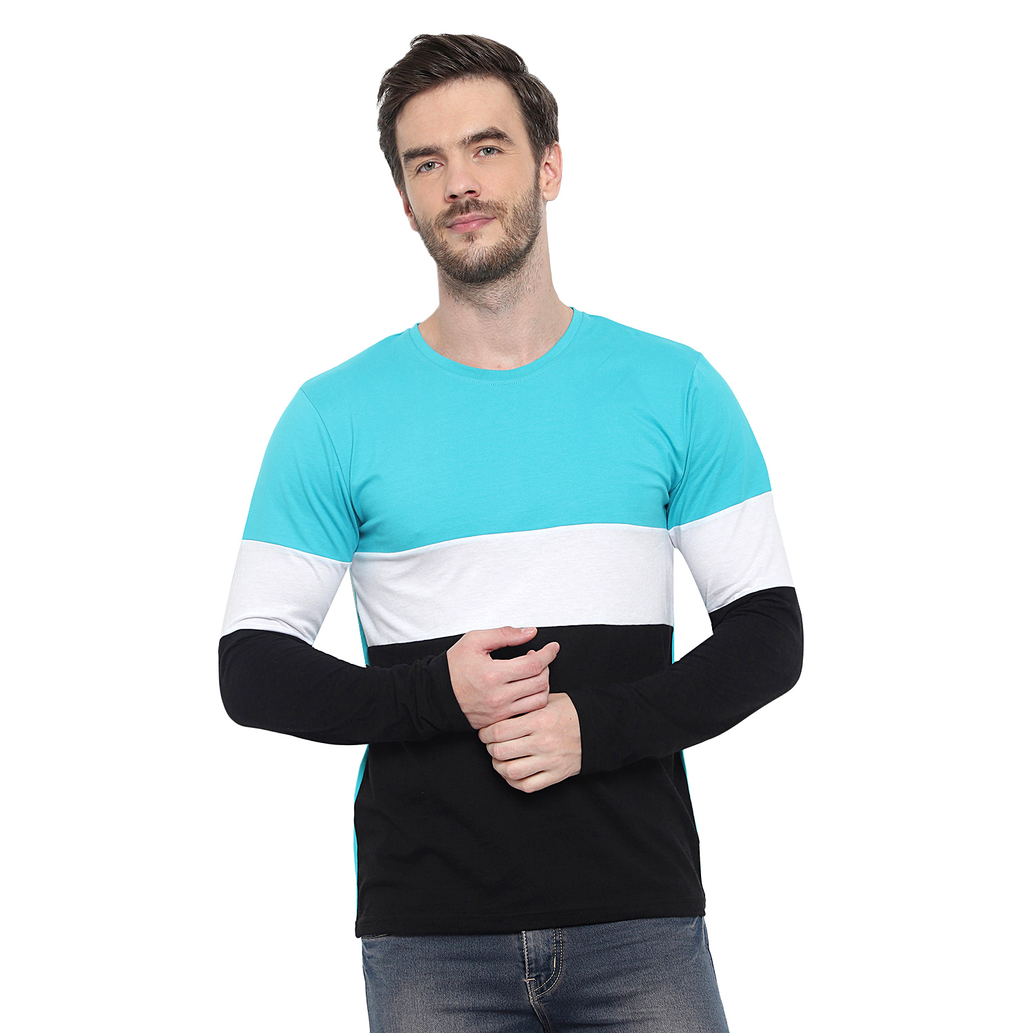 Glito Light Blue Black & White Color Black T-Shirt for Men