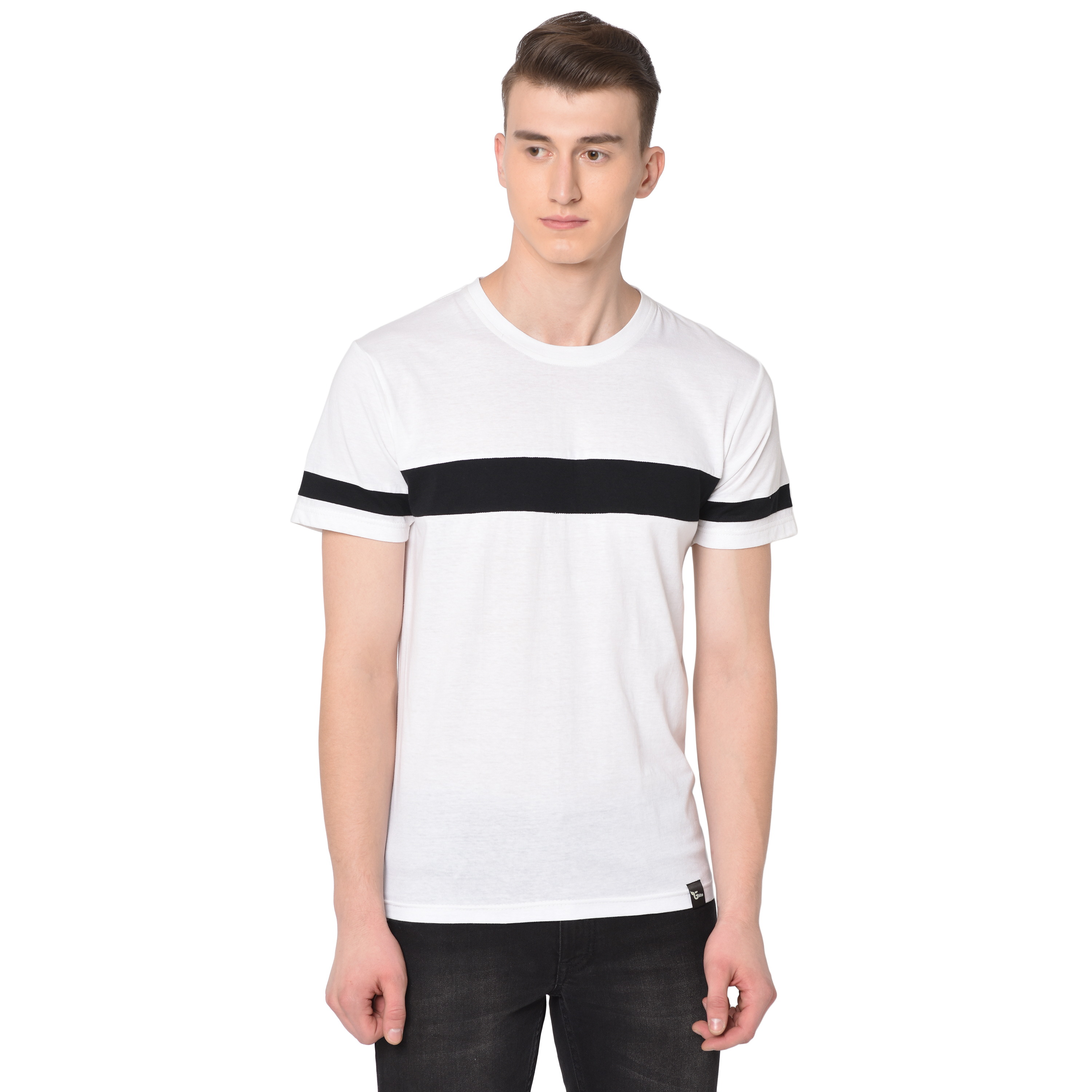 Glito  Men's Half Sleeves Round Neck Slim Fit  Cotton 2 Units Combo  T-Shirt With Black & White Color