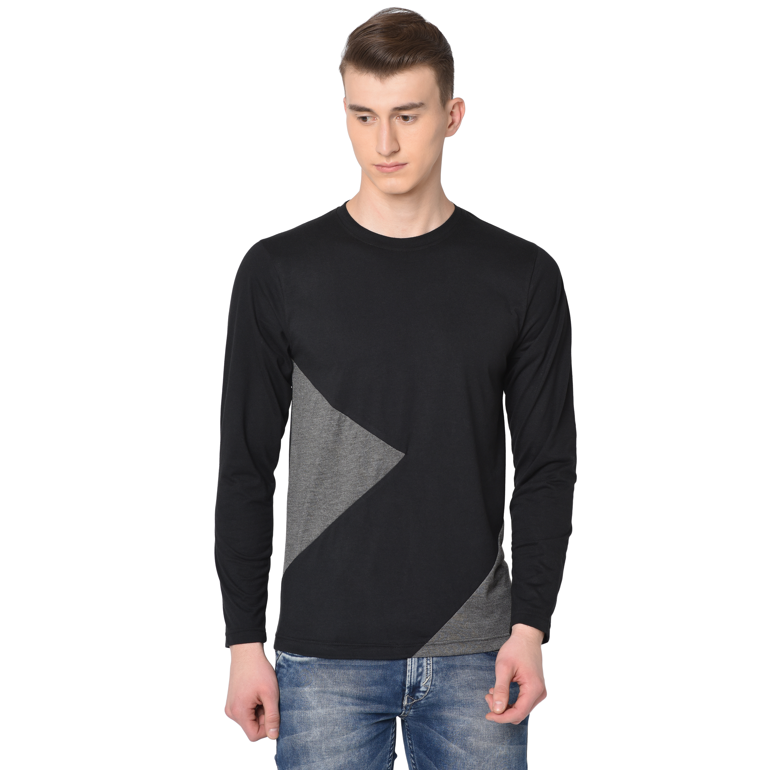 Glito Black Round Neck Cotton Men T-Shirts & Polos