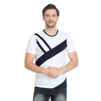 Glito White Round Neck Cotton Men T-Shirts & Polos