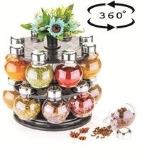 360� Set of 16 Piece Spice Set Revolving Rack