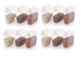 Plastic Cereal Dispenser Easy Flow Storage Jar with Lid for Cereals, Rice and Pulses, 750ml Set of 12