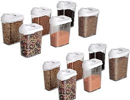 Cereal Dispenser Easy Flow Storage Jar 750ml 12 Pcs Set