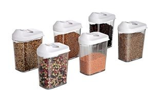 Cereal Dispenser Easy Flow Storage Jar 750ml 6 Pcs Set, Idle for Kitchen- Storage Box Lid Food Rice Pasta Container