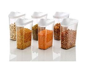 Set of 6 Pcs (1100 ml) Easy Flow Kitchen Plastic Dispenser/Container/Jar Set for Cereals, Rice, Pulses