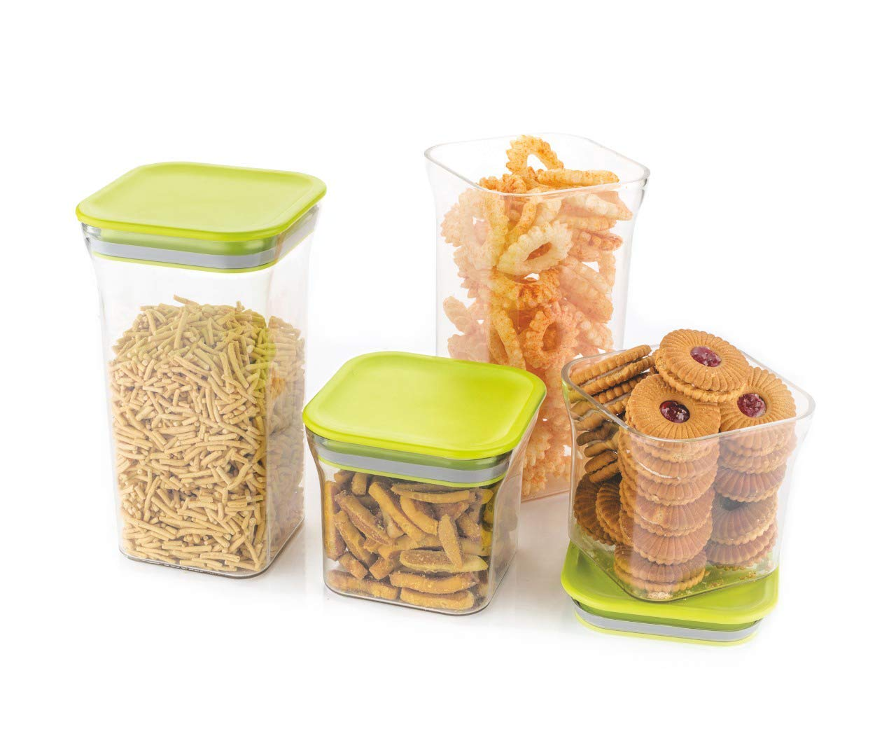 4 pcs air Tight Square Container - 600 ml, 1200 ml