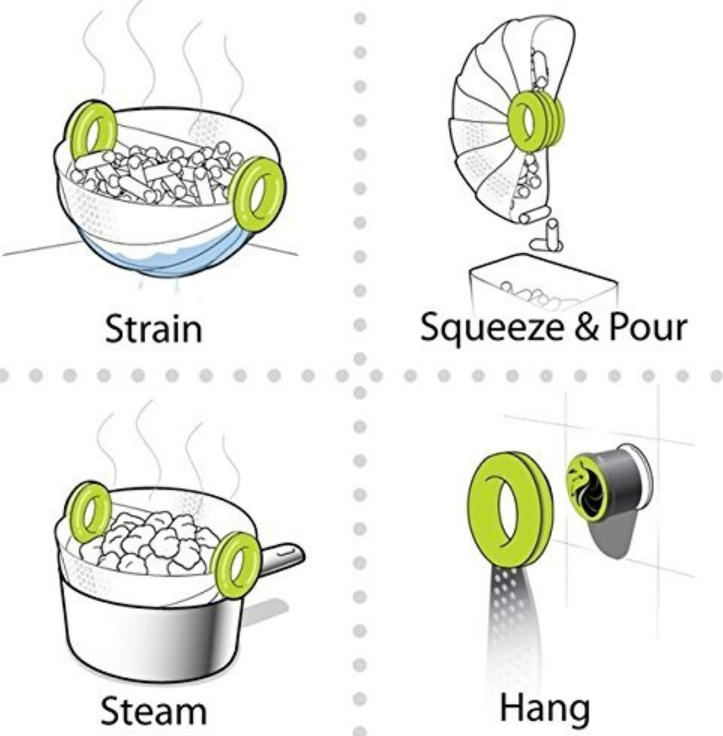 Splendid 5 in 1 Foldable Kitchen Colander Drain Basket & Strainer