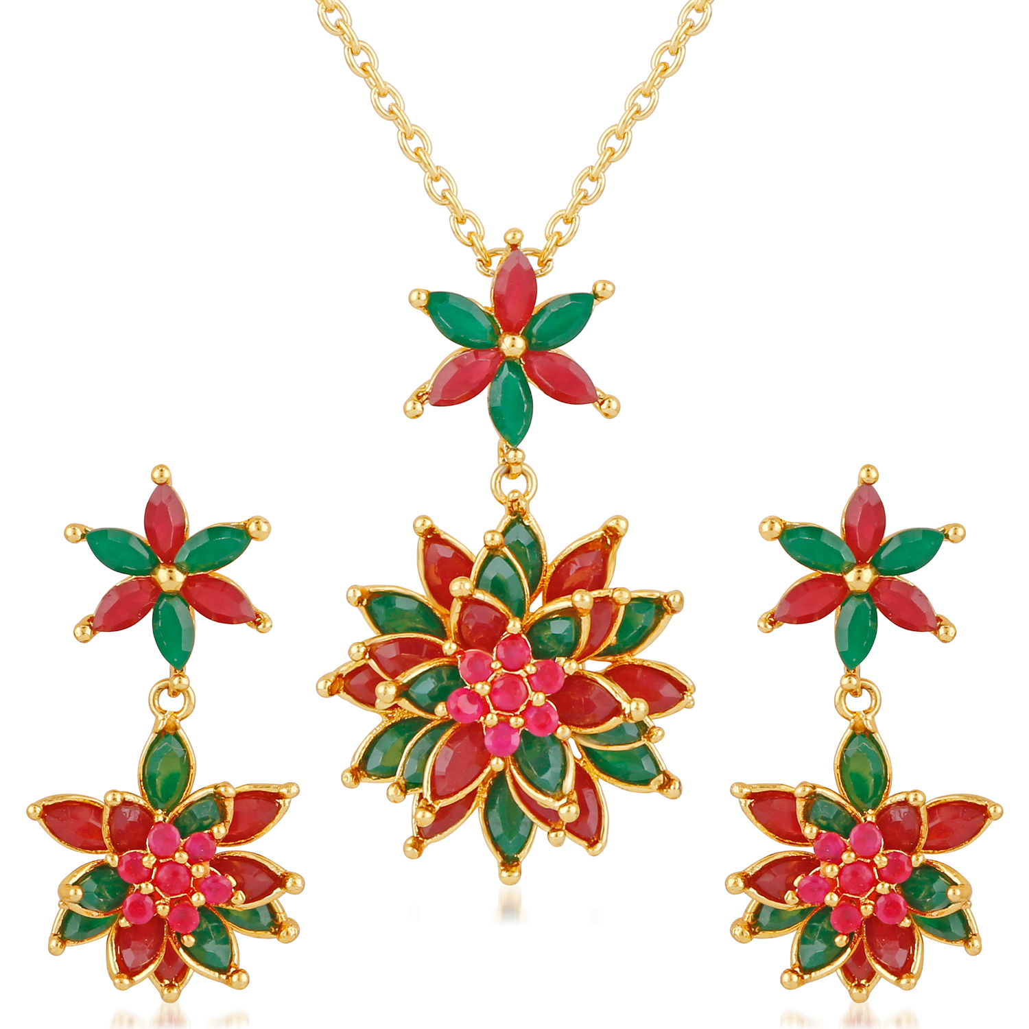 Mahi Multi Colored Alloy Necklace For Women