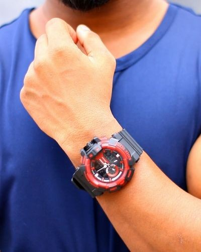Sporty Black and Red Watch