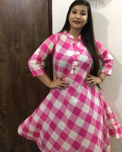 Checked cotton kurta