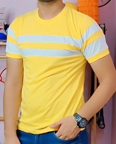 yellow Casual Striped T-shirt