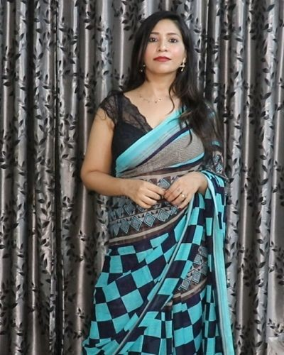 Black Blue Check Print Saree