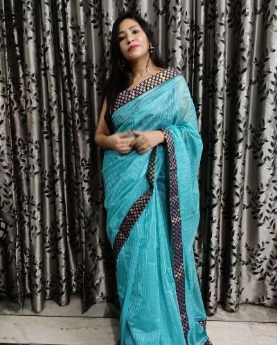 Saree with Beautiful lace work
