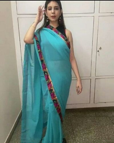 Saree with floral borders