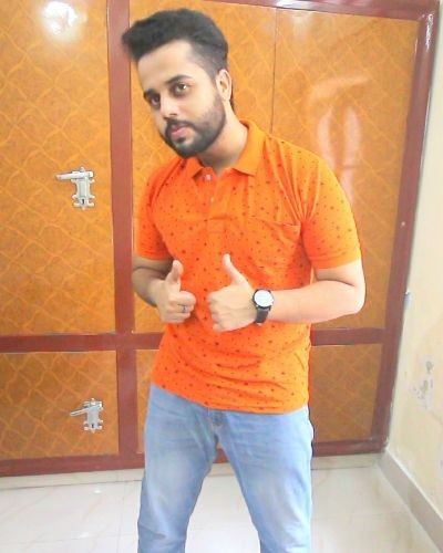 Trendy Orange  Printed Polo T-Shirt
