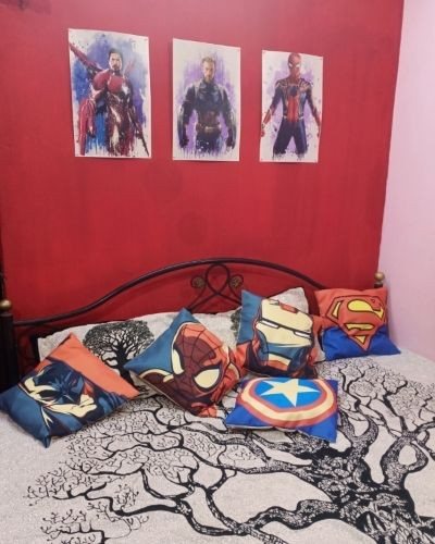Set Of  5- Avengers Cushion Covers For Marvel Fans