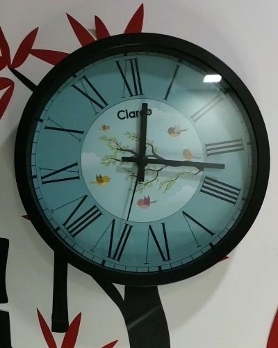 Designer Round glass wall clock .