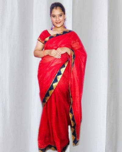 Red Lace work saree